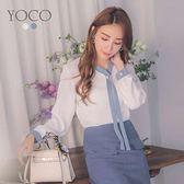 東京著衣【YOCO】知性優雅配色珍珠領雪紡長袖上衣-S.M.L(181921)