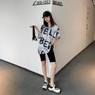中長款韓版寬鬆字母短袖連帽t恤女2021新款春夏季百搭慵懶范上衣 【端午節特惠】