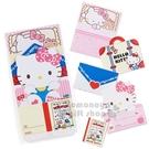 〔小禮堂〕Hello Kitty 日製造型留言卡組《紅白.大臉》留言紙.便條紙.信紙 4901610-98388