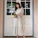 長袖洋裝 碎花雪紡連身裙-媚儷香檳-【FD0187】