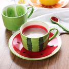 水杯創意可愛水果杯子馬克杯陶瓷情侶咖啡杯早餐杯帶勺【紅人衣櫥】