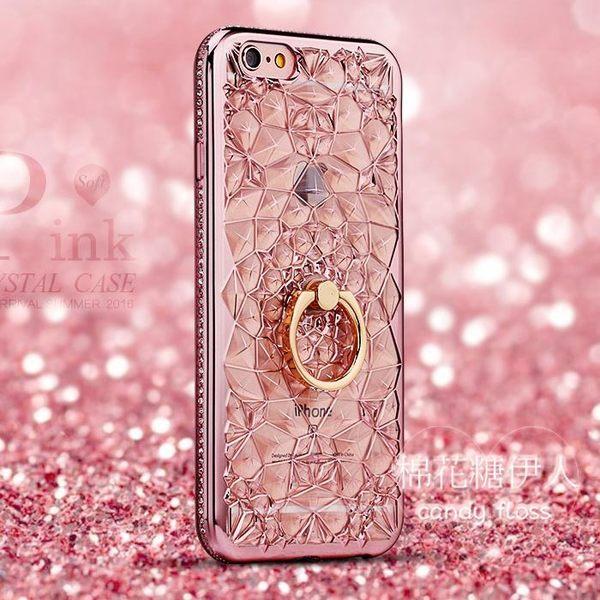 iphone6 plus帶指環奢華水鉆s軟膠手機殼LVV2868【棉花糖伊人】