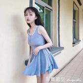夏季新款韓版修身蕾絲花邊短款洋女純色簡約背心裙荷葉邊裙潮限時特惠