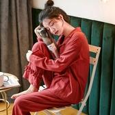 睡衣女春秋冬長袖純棉新婚結婚薄款本命年鼠年加厚家居服紅色套裝