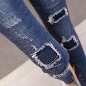 破洞牛仔褲女韓版高腰彈力緊身顯瘦九分小腳長褲【橘社小鎮】
