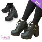 短靴.MIT帥氣綁帶厚底高跟短靴.黑色【鞋鞋俱樂部】【024-CM7776】