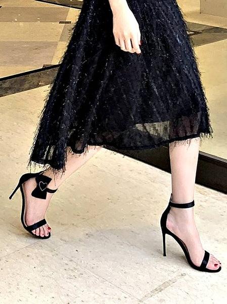 克妹Ke-Mei【ZT64125】歐洲站 愛心水鑽美踝釦環露指高跟鞋