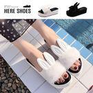 [Here Shoes]拖鞋-兔耳朵 人造短毛絨造型 厚底休閒一字拖鞋 涼拖鞋 厚底拖鞋-AW610