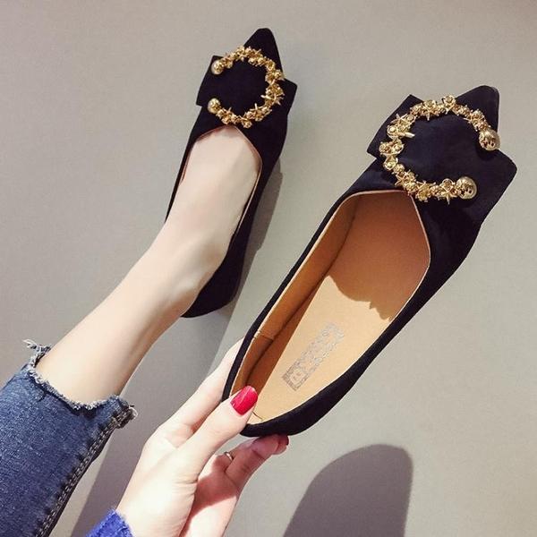 豆豆鞋懶人豆豆鞋女春季新款韓版百搭尖頭淺口平底金屬扣瓢鞋單鞋子 可然精品