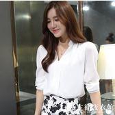 新款女裝上衣白襯衫V領修身OL長袖雪紡衫襯衣百搭打底衫