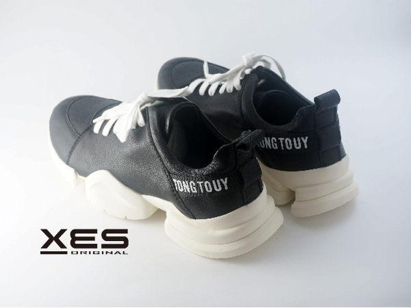 XES 綁帶增高方塊休閒鞋 男款 黑色