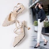 新品涼鞋 包頭綁帶涼鞋女仙女風 新款毛毛女鞋貓跟中跟一字扣高跟鞋女