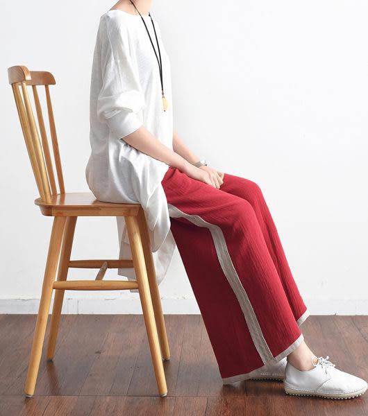 直筒九分褲-中式文藝拼接撞色亞麻寬鬆/設計家