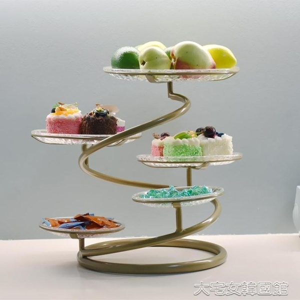 蛋糕架歐式鐵藝多層水果盤蛋糕架創意客廳下午茶點心托盤婚慶小吃北 大宅女韓國館YJT