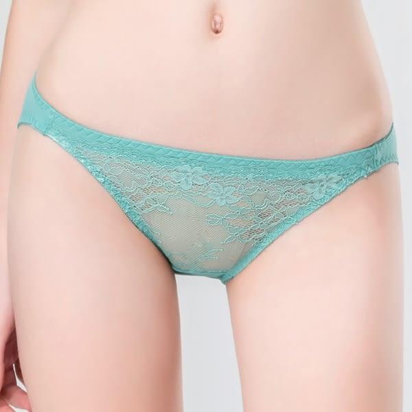 思薇爾-唯美花影系列M-XL蕾絲低腰三角內褲(綠翡翠)