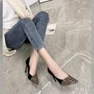 女鞋2021新款時尚花布拼色尖頭百搭仙氣高跟鞋女細跟 快速出貨