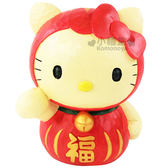 〔小禮堂〕Hello Kitty 仿木造型存錢筒《不倒翁》金銀財寶滾滾來  4991567-20589