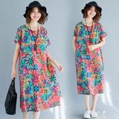 短袖洋裝民族風大碼女裝夏裝新款短袖印花復古文藝寬鬆棉麻中長款洋裝子 伊莎公主