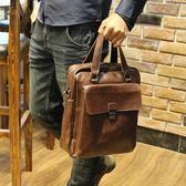 單肩包男斜背包公事包休閒男士背包皮包商務瘋馬皮手提包 可可鞋櫃