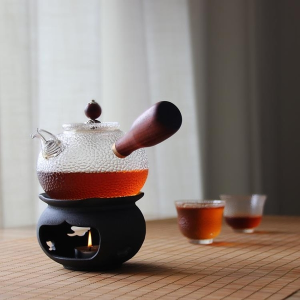 日式酒精燈蠟燭溫茶器茶爐陶瓷煮茶爐明火幹燒台茶壺加熱底座 新年禮物