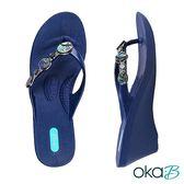 【Oka-B】KENDRA彩亮珍珠貝殼配飾人字夾腳楔型高跟涼鞋  藍色(K408KE-NA)