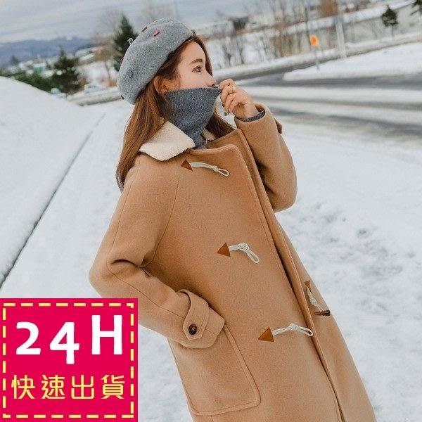 梨卡★現貨 - 甜美氣質牛角扣中長版防風保暖毛呢立領外套風衣長大衣/2色AR015-1