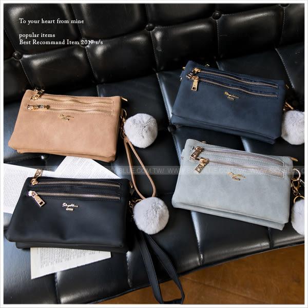 手拿包-skyblue自訂雙拉鍊多層斜背包-共4色-A17171678-天藍小舖