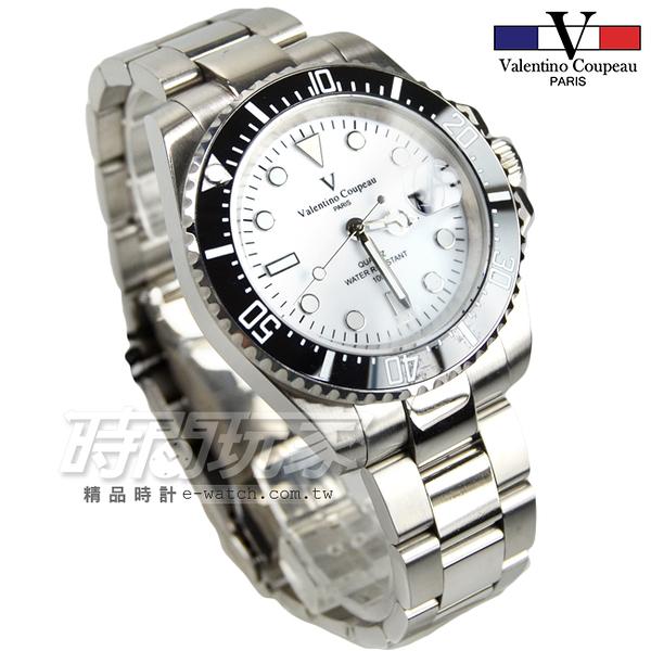 valentino coupeau 范倫鐵諾 夜光時刻 不銹鋼 防水 男錶 白色面盤 潛水錶水鬼 石英錶 V61589黑框白