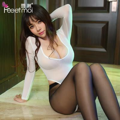【預購】透明性感開檔連身衣誘惑絲襪套裝 情趣內衣 2色 情人節 F69350