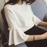 ~PU09 ~甜美名媛範純色短款喇叭中袖雪紡衫上衣XL 白色