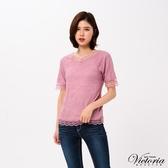 Victoria  前後可穿)全蕾絲短袖T-女-V85414