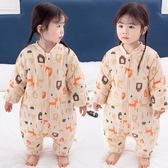 新生嬰兒純棉睡袋寶寶加棉加厚連身睡衣四季通用分腿防踢被 伊衫風尚