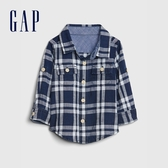 Gap嬰兒 時尚格紋翻領開襟長袖襯衫 577217-淺靛藍
