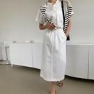 襯衫洋裝 韓系度假風立領鬆緊收腰白色連身裙 花漾小姐【預購】