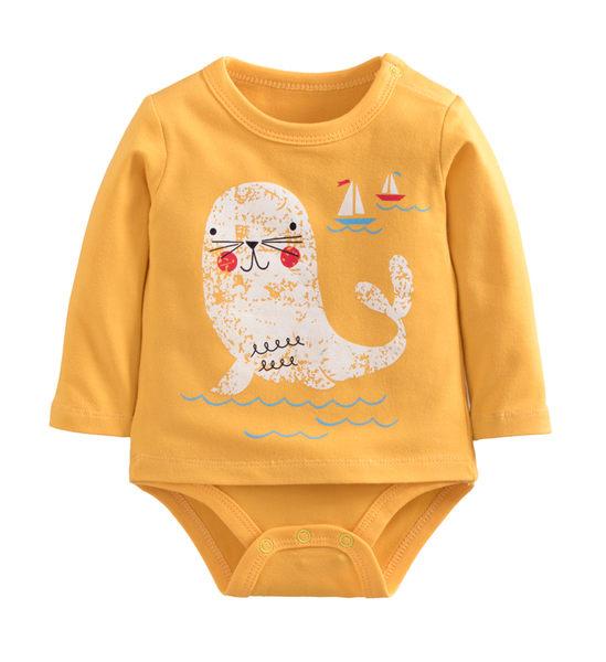童裝 現貨 雙層純棉拉架假兩件印花包屁衣-05款黃底白海獅【40068】