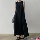 熱賣背心洋裝 韓國極簡主義小眾圓領寬鬆長款過膝大擺型背心連身裙長裙女【618 狂歡】