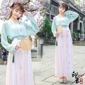 兩件套漢服民族風漢服女對襟襦裙天絲仙子傳統刺繡花漢元素舞臺表演服 降價兩天