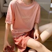居家服.微笑字母純棉上衣+舒適格紋短褲.白鳥麗子