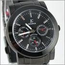 【萬年鐘錶】SIGMA 全黑紅針三眼時尚腕錶 8807M-B