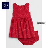 Gap女嬰兒 燈芯絨無袖波點洋裝 375161-摩登紅色