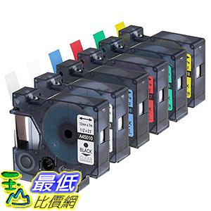 [106美國直購] Anycolor 6 Pack 1/2 Inch Compatible DYMO D1 Label Tapes Combo Set