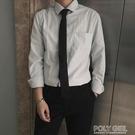 韓版簡約休閒純白打底衫商務職業純棉長袖襯衫正裝男   夏季新品