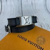 BRAND楓月 LOUIS VUITTON LV 路易威登 M6616E 黑棋盤雙圈手環 #19 配飾 配件 飾品