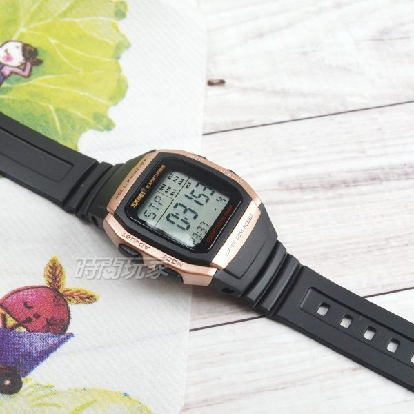 SKMEI時刻美 多功能夜光 鬧鐘 方形防水腕錶 潮流學生運動電子錶 黑x玫瑰金 SK1278玫