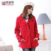 質感外套--保暖禦寒首選西裝領素面收腰短大衣(黑.紅M-2L)-J97眼圈熊中大尺碼