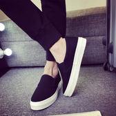 增高鞋 秋季男鞋韓版潮流懶人套腳帆布鞋白色厚底增高學生休閒鞋樂福板鞋