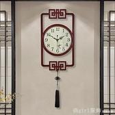 掛鐘 新中式掛鐘復古中國風個性大氣裝飾鐘錶家用客廳時尚創意藝術時鐘 618購物節 YTL