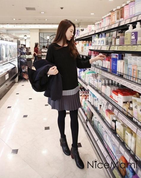 漂亮小媽咪 名媛氣質洋裝 【D6623EK】 百褶裙 長袖 顯瘦 修身洋裝 孕婦裝