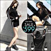 克妹Ke-Mei【AT47873】ins歐美街頭超酷個性單槓透視袖連帽外套+褲裙套裝