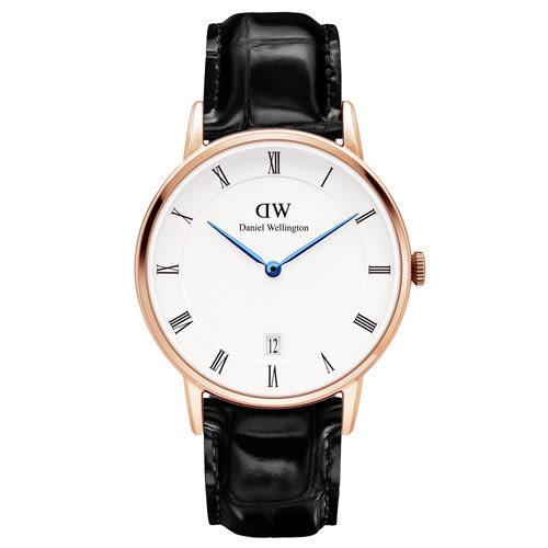 Daniel Wellington Dapper 時尚黑色皮革腕錶-金框/34mm(DW00100118)